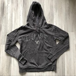 American Eagle Gray Love Hoodie Sweatshirt